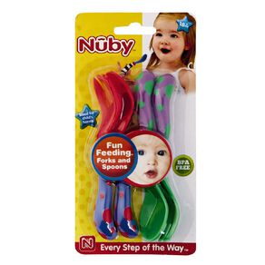Nuby Starter Fork and Spoon Set Assorted