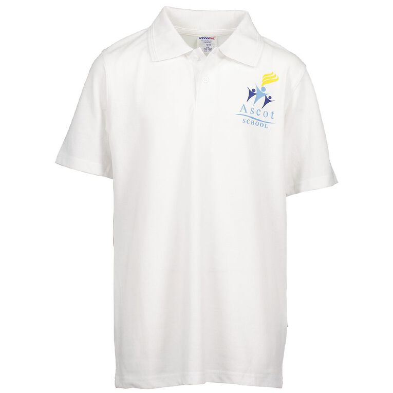 Schooltex Ascot Primary Short Sleeve Polo with Screenprint, White, hi-res