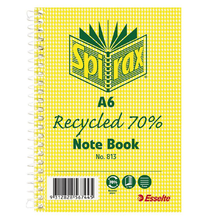 Spirax 813 Recycled Notebook 100 Page A6, , hi-res