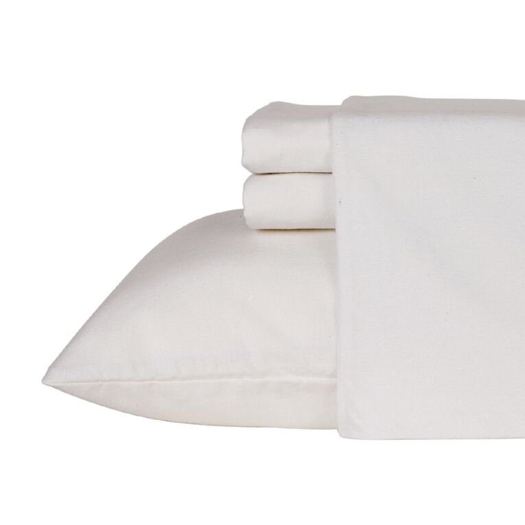 Living & Co Sheet Set Cotton Flannelette Optical White King, White, hi-res