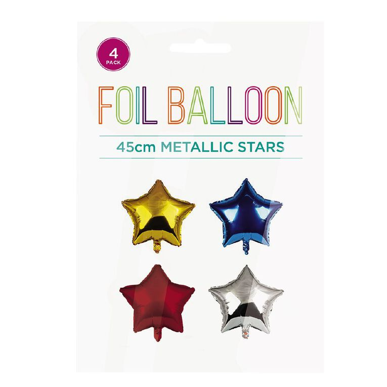 Metallic Foil Balloons Stars 45cm Multi-Coloured 4 Pack, , hi-res