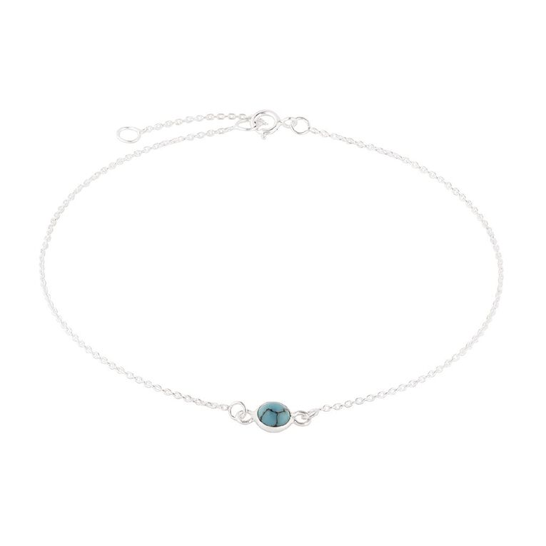 Sterling Silver Anklet Turquoise Charm, , hi-res