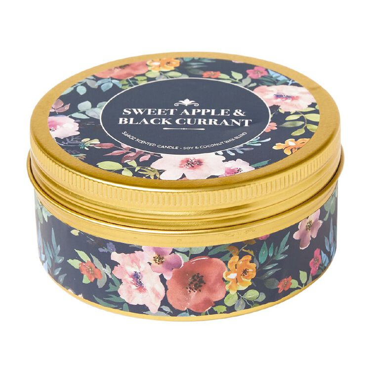 Living & Co Printed Tin Candle Sweet Apple & Black Currant Blue 7oz, , hi-res image number null