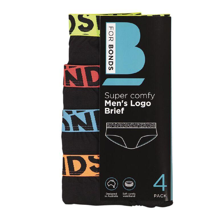 B FOR BONDS Men's Logo Briefs 4 Pack, Black Disc 04K, hi-res