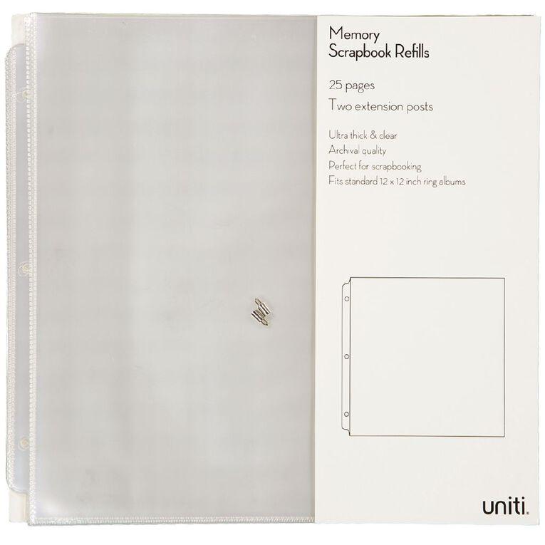 Uniti Album Refills 12x12 25pk Clear, , hi-res