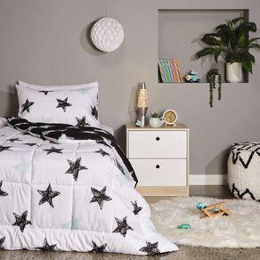 Living & Co Kids Comforter Set Stars Black/White King Single