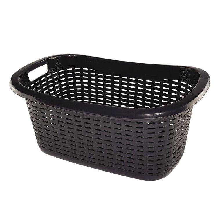 Taurus Laundry Basket Weave Charcoal 42L, , hi-res