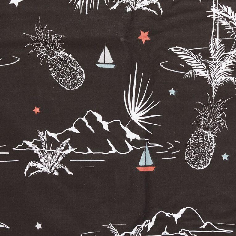 Living & Co Kids Duvet Cover Set Vintage Surf Black Single, Black, hi-res