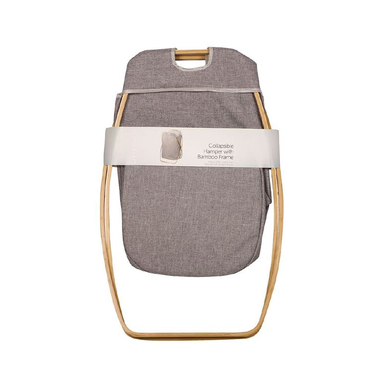 Living & Co Foldable Hamper with Bamboo Frame Natural, , hi-res