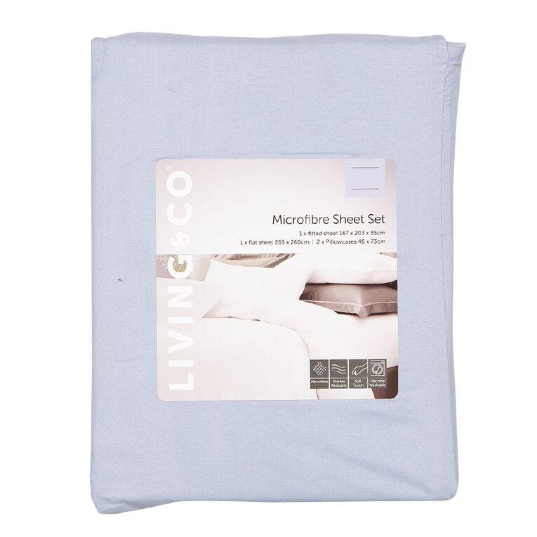 Living & Co Sheet Set Microfibre Blue Queen, Blue, hi-res