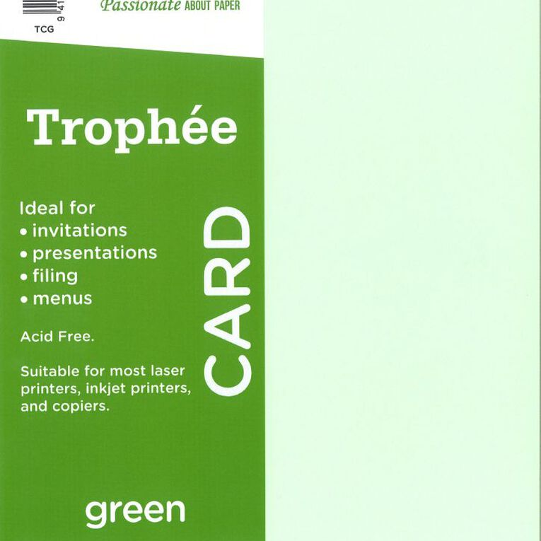 Trophee Card 160gsm 15 Pack Green A4, , hi-res