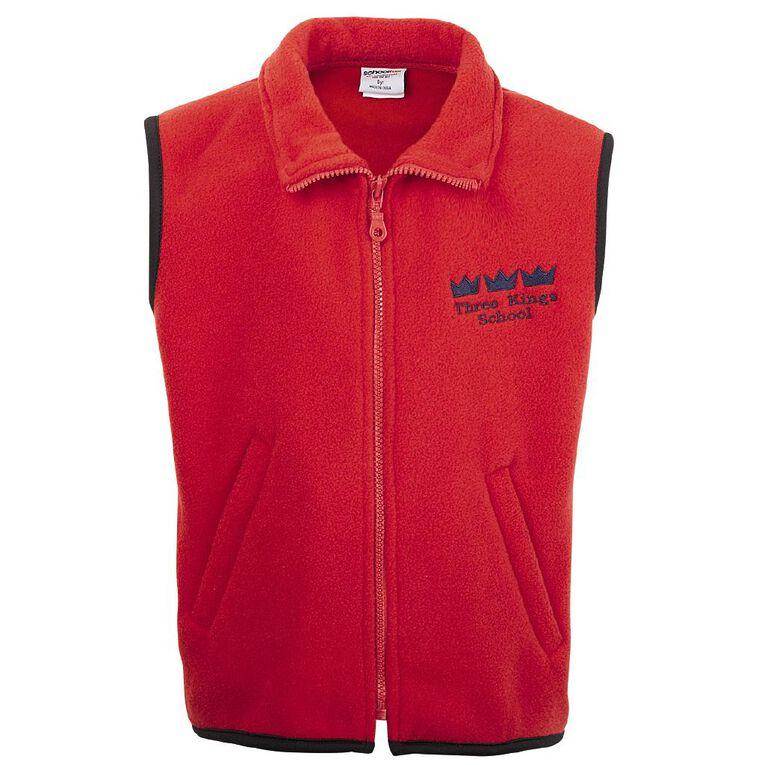 Schooltex Three Kings Vest with Embroidery, Red, hi-res