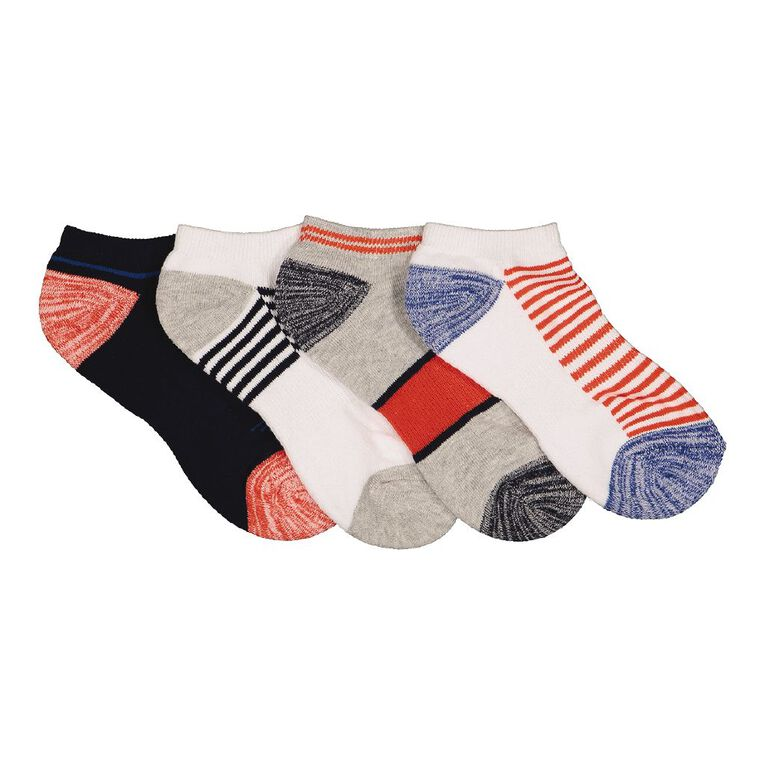 Active Intent Boys' Low Cut Socks 4 Pack, White, hi-res