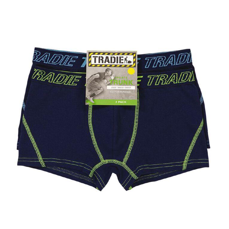 Tradie Boys' Active Trunk 2 Pack, Navy, hi-res