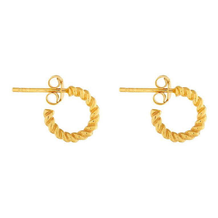 Sterling Silver Twist Half Hoop Stud Earrings, , hi-res image number null