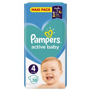 Pampers Nappies Active Baby Maxi Pack S4 (58)