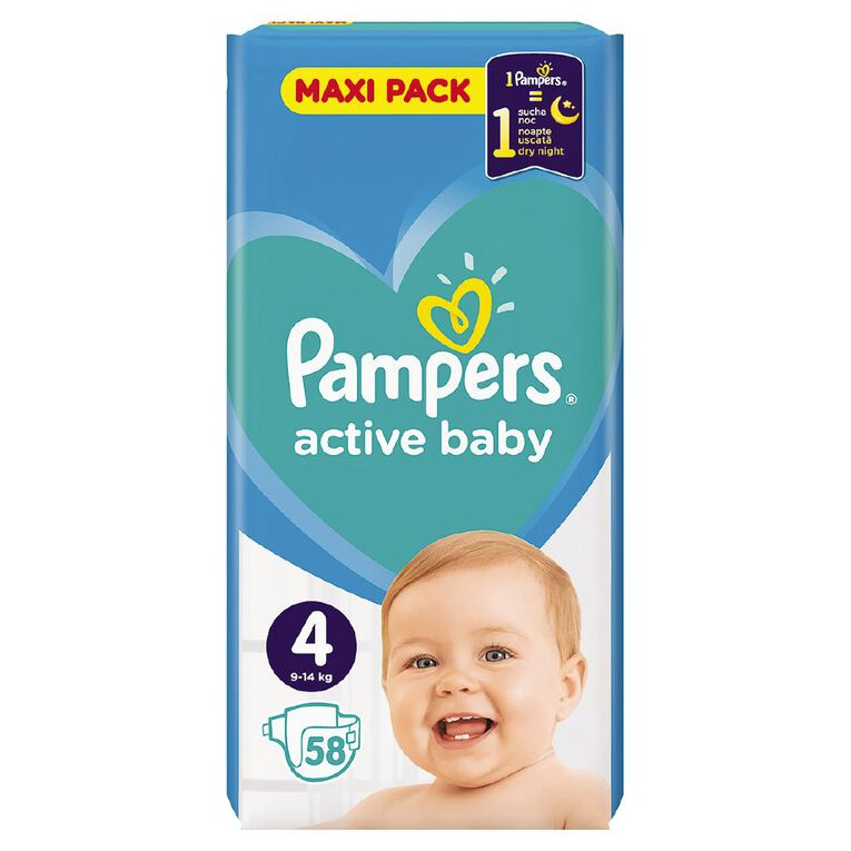 Pampers Nappies Active Baby Maxi Pack S4 (58), , hi-res