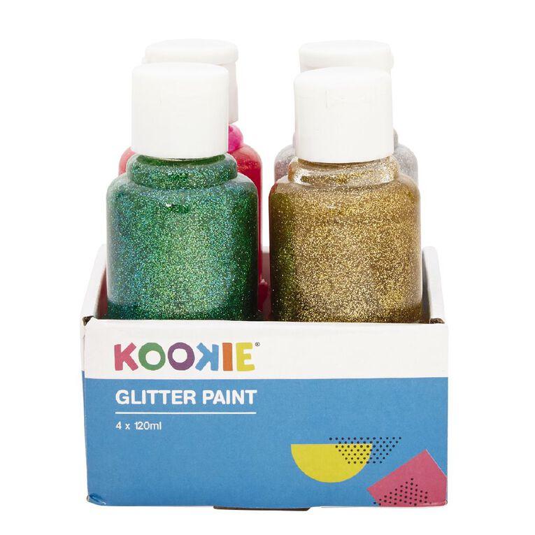 Kookie Acrylic Paint Glitter 120ml 4 Pack, , hi-res