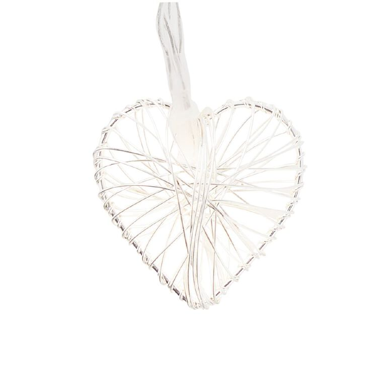 Party Inc Wire Heart String Lights Warm White 10 LED Silver, , hi-res image number null