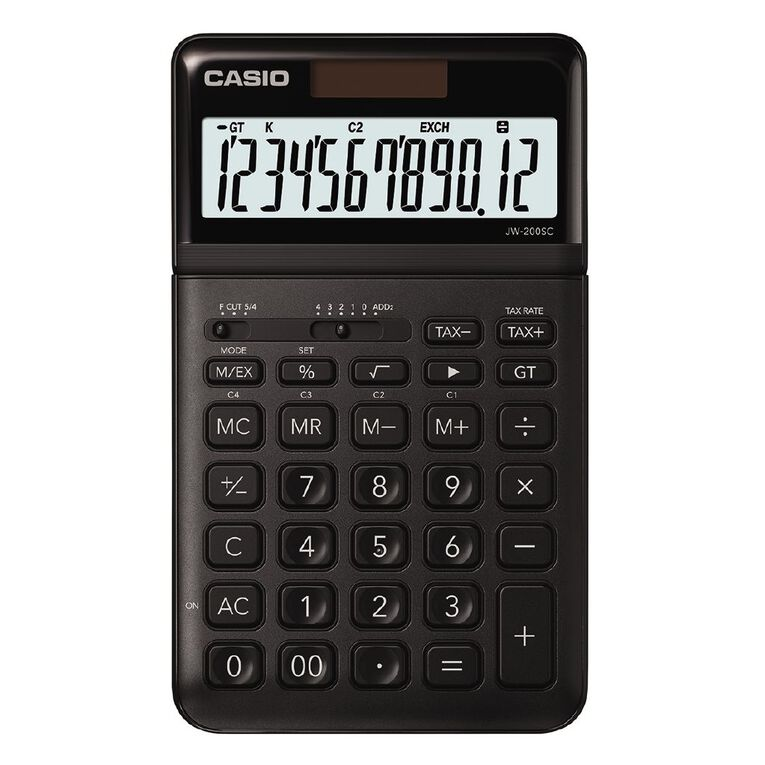 Casio JW200SCBK Desktop 12 Digit Calculator Stylish Black, , hi-res