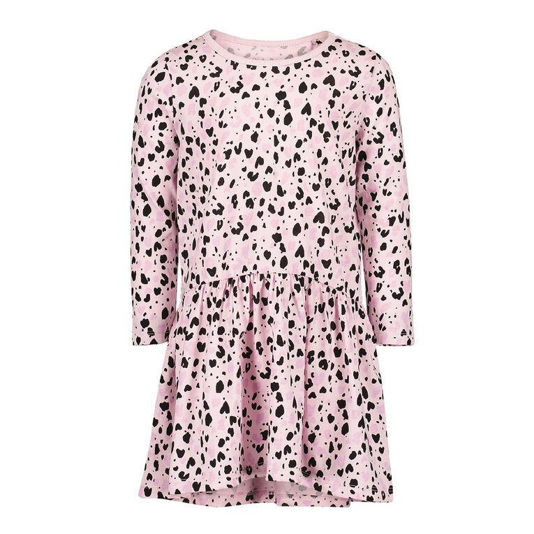 Young Original Toddler Long Sleeve Printed Dress, Pink Mid, hi-res