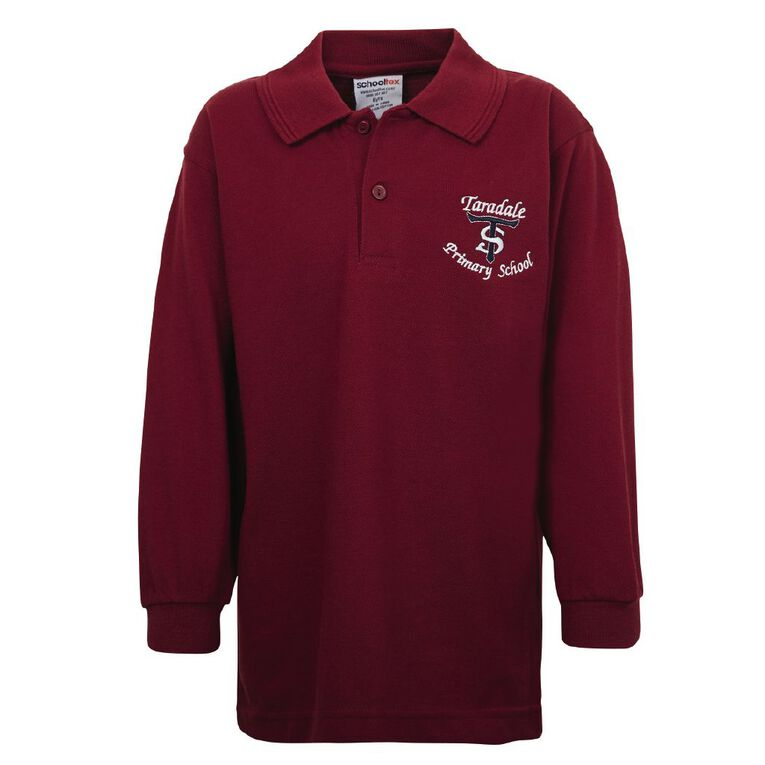 Schooltex Taradale Long Sleeve Polo with Embroidery, Burgundy, hi-res