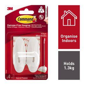 Command Adhesive Wire Hooks White Medium