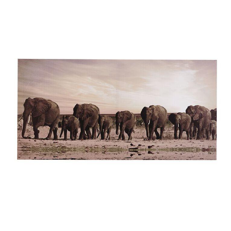 Living & Co Elephant Family Canvas 50 x 100 x 1.8cm, , hi-res