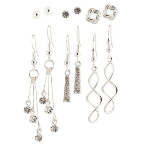 Basics Brand Diamante Droplet Swirl Silver Earrings 6 Pairs