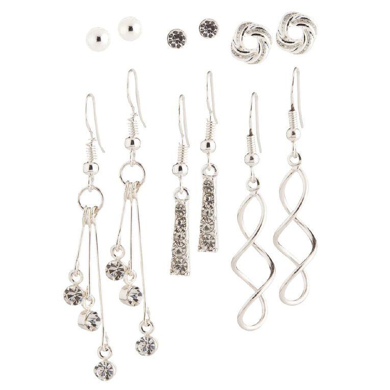 Basics Brand Diamante Droplet Swirl Silver Earrings 6 Pairs, Silver, hi-res