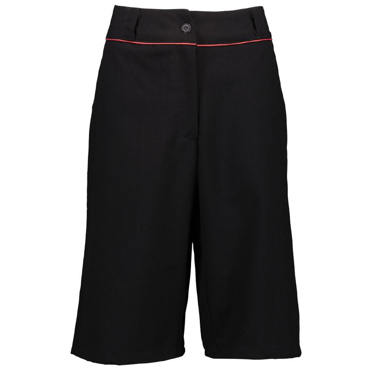 Schooltex Kamo High Senior Girls' Shorts with Embroidery, Black, hi-res