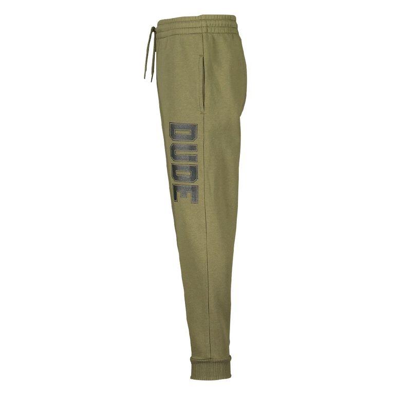 Young Original Print Leg Trackpants, Green Dark, hi-res
