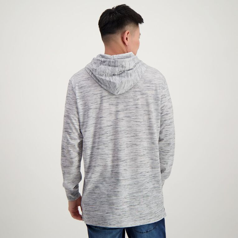 Garage Men's Long Sleeve Hooded Spave Dye Tee, Grey Marle, hi-res
