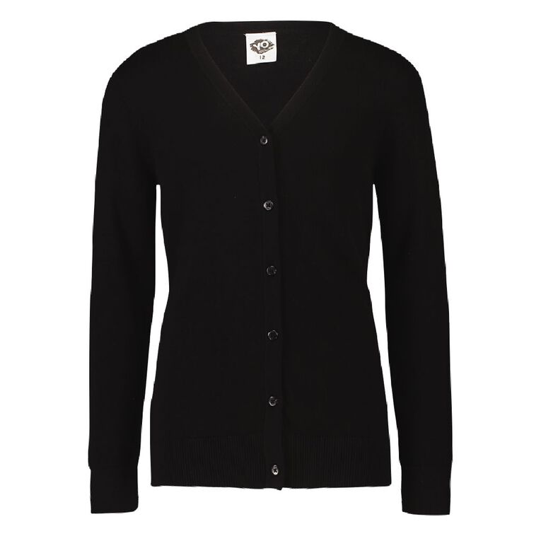 Young Original Girls' Plain Cardigan, Black, hi-res image number null