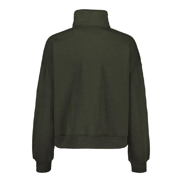 H&H Women's 1/4 Zip Pullover Sweat, Green Dark, hi-res