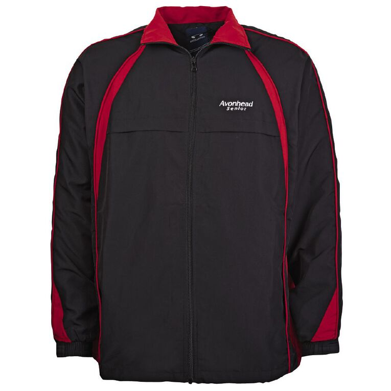 Schooltex Avonhead Senior Sports Jacket with Embroidery, Black/Red, hi-res