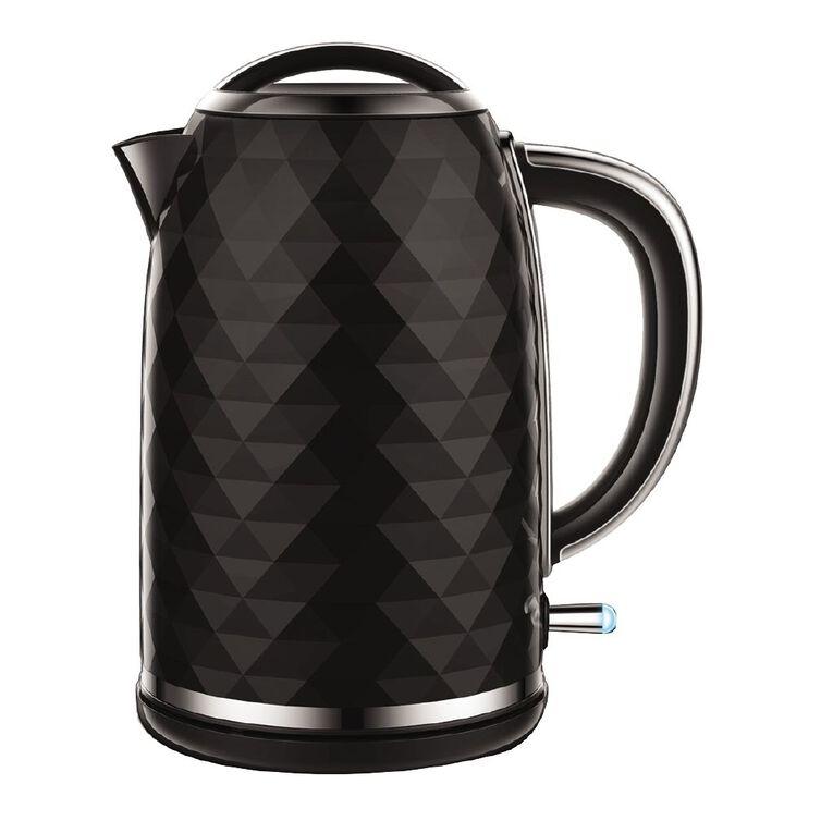 Living & Co Diamond Kettle 1.7 Litre Black, , hi-res