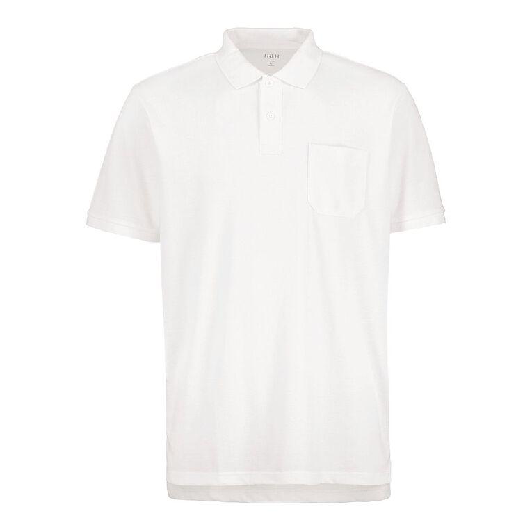 H&H Men's Plain Pocket Polo, White, hi-res