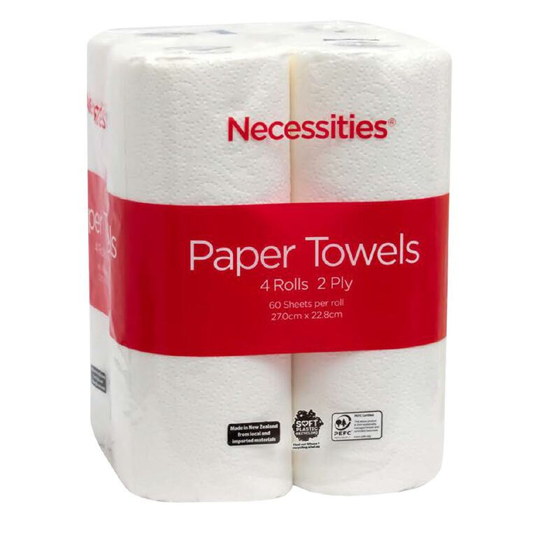 Necessities Brand Paper Towel White 60 Sheet 4 Pack Tall, , hi-res
