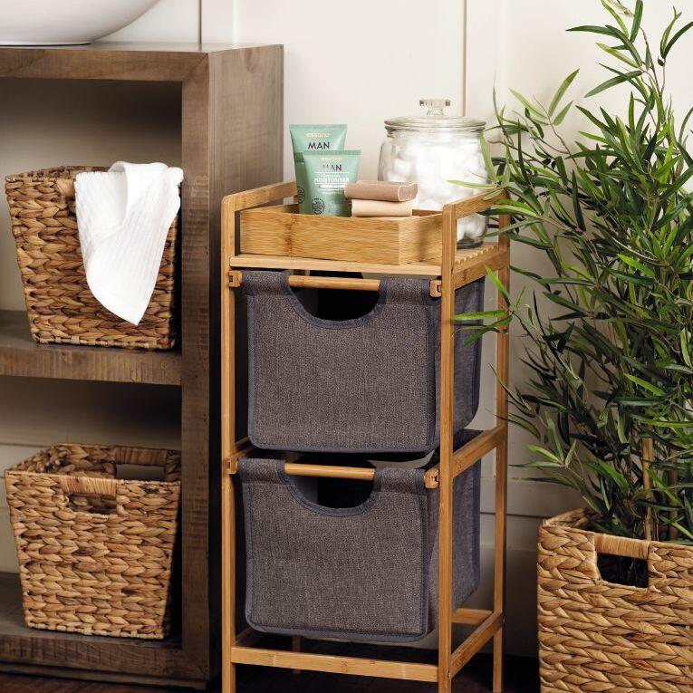 Living & Co Bamboo 2 Drawer Basket Shelf, , hi-res