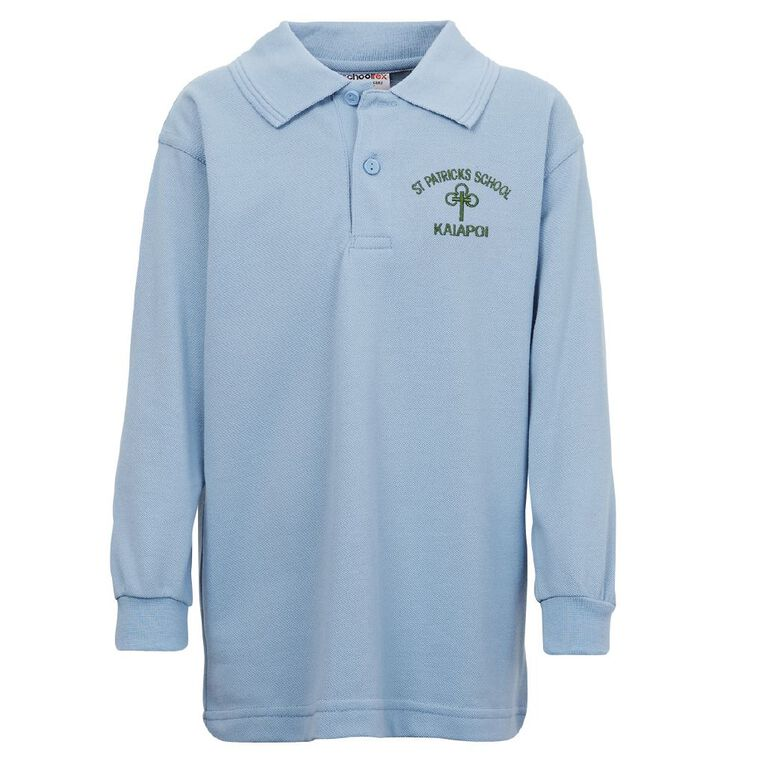 Schooltex St Patrick's Kaiapoi Long Sleeve Polo with Embroidery, Powder Blue, hi-res