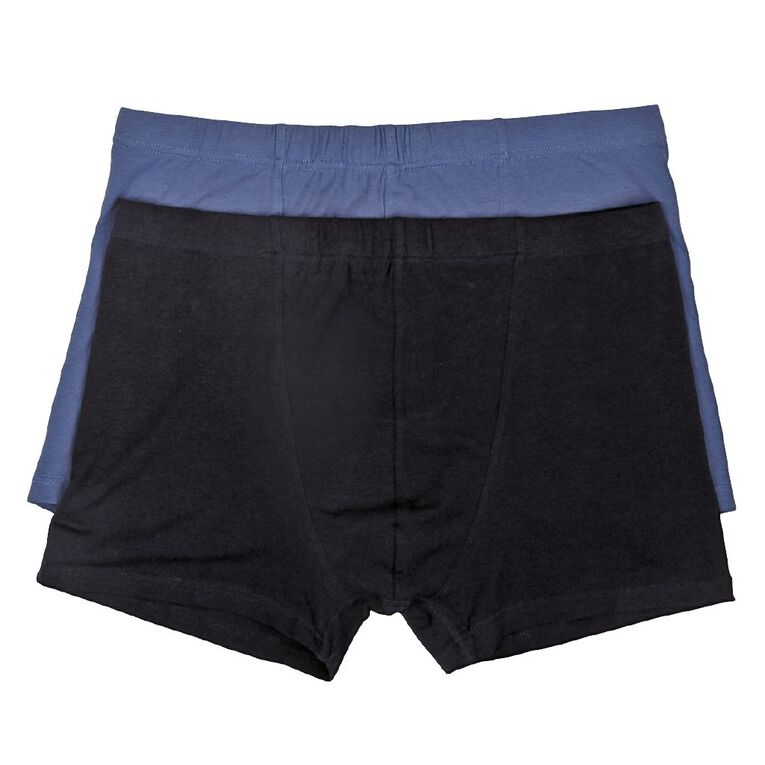 H&H Men's Plain Trunks 2 Pack, Navy, hi-res