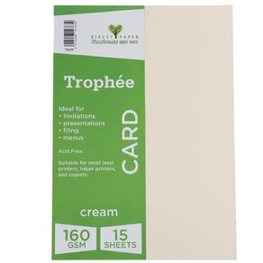 Trophee Card 160gsm 15 Pack Cream A4