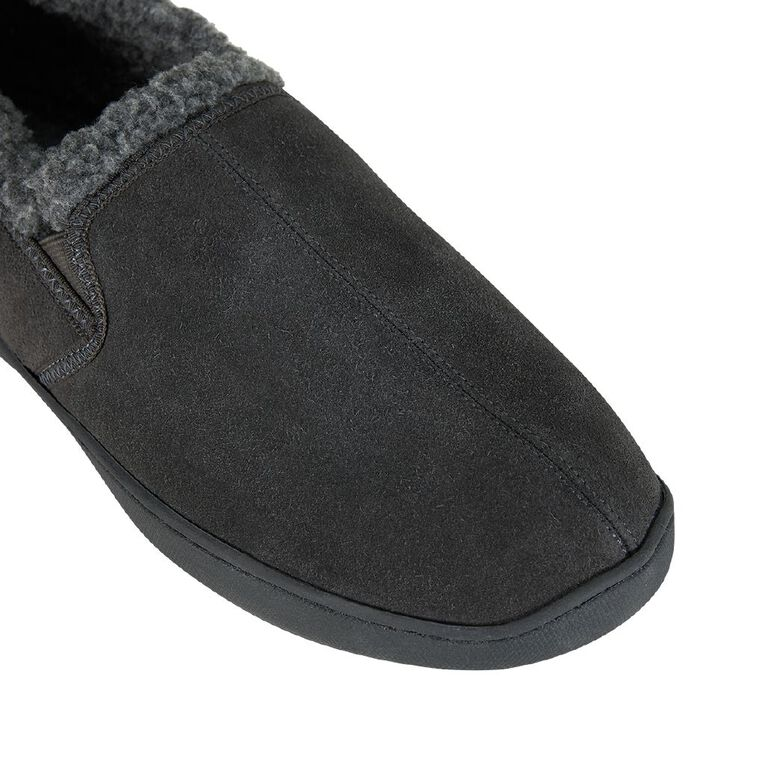 H&H Suede Leather Reece Slippers, Charcoal, hi-res
