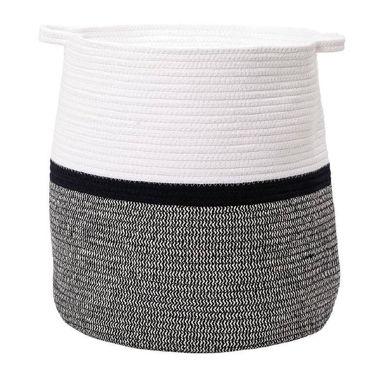 Living & Co Jute Rope Basket Black/White Large, , hi-res