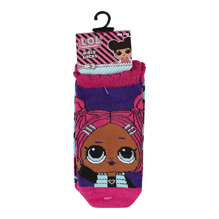 LOL Surprise Girls' Liner Socks 3 Pack, Purple Dark, hi-res