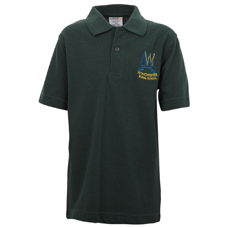 Schooltex Winchester Short Sleeve Polo with Embroidery, Bottle Green, hi-res