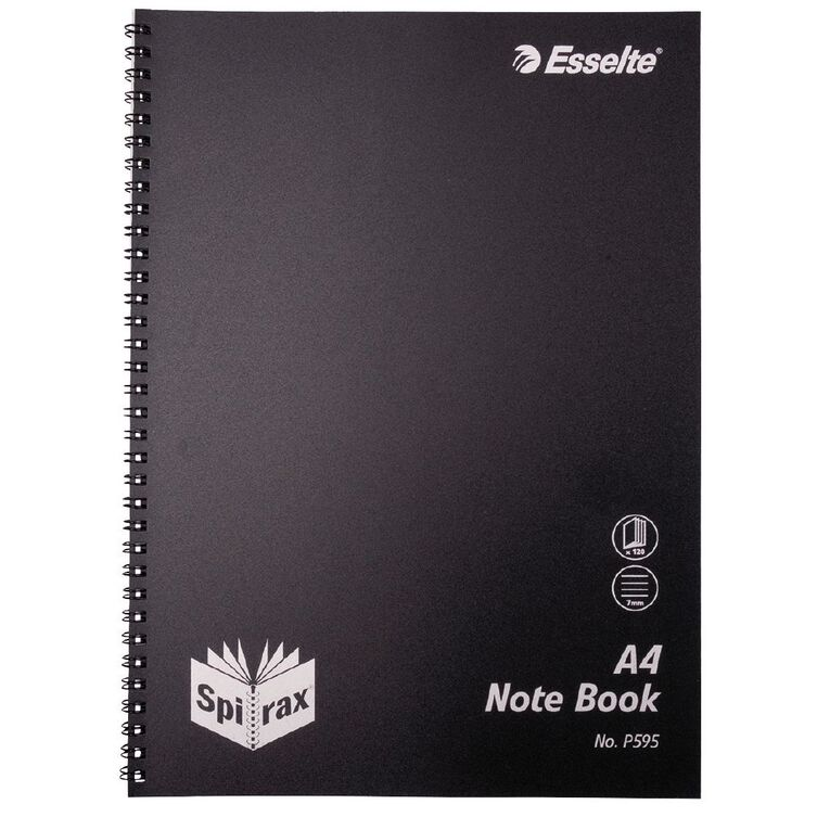 Spirax P595 PP Notebook A4 Black 120 Pages, , hi-res