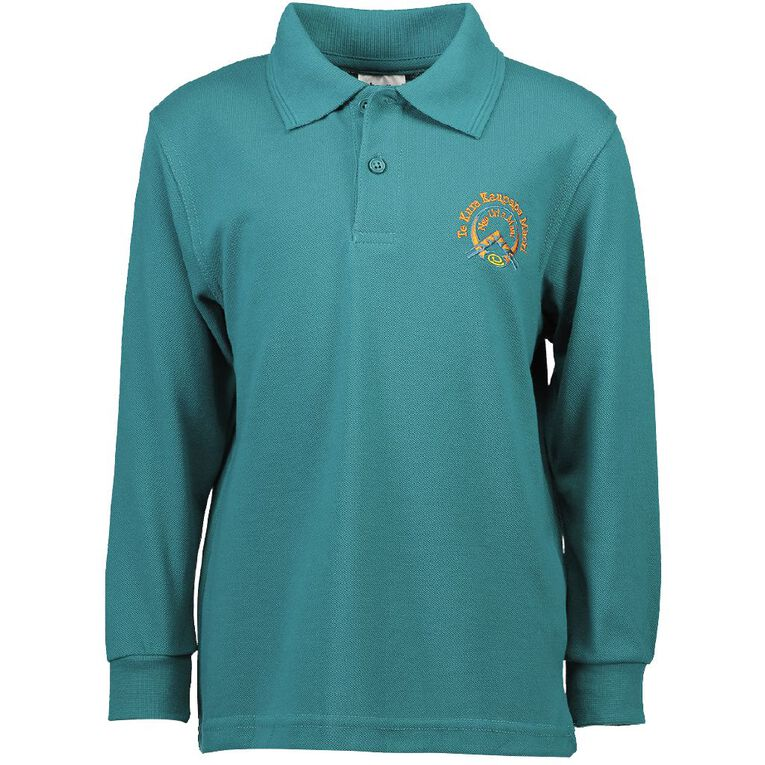 Schooltex TKKM Nga Uri A Maui Long Sleeve Polo with Embroidery, Jade, hi-res
