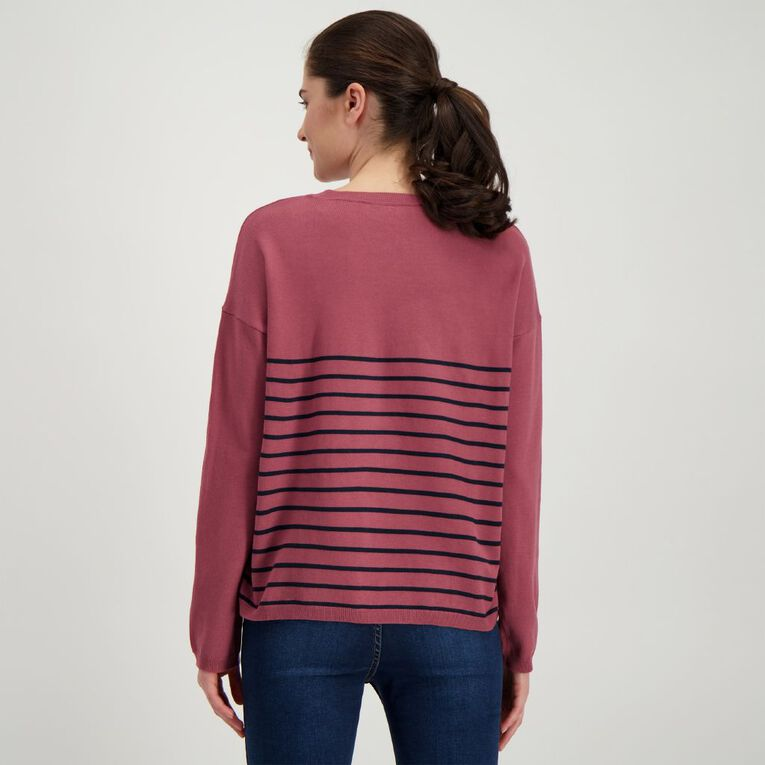 H&H Women's Long Sleeve Drop Shoulder Core Jumper, Purple Dark, hi-res